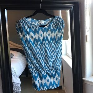 Rouched sleeve geometric print top NY&Co